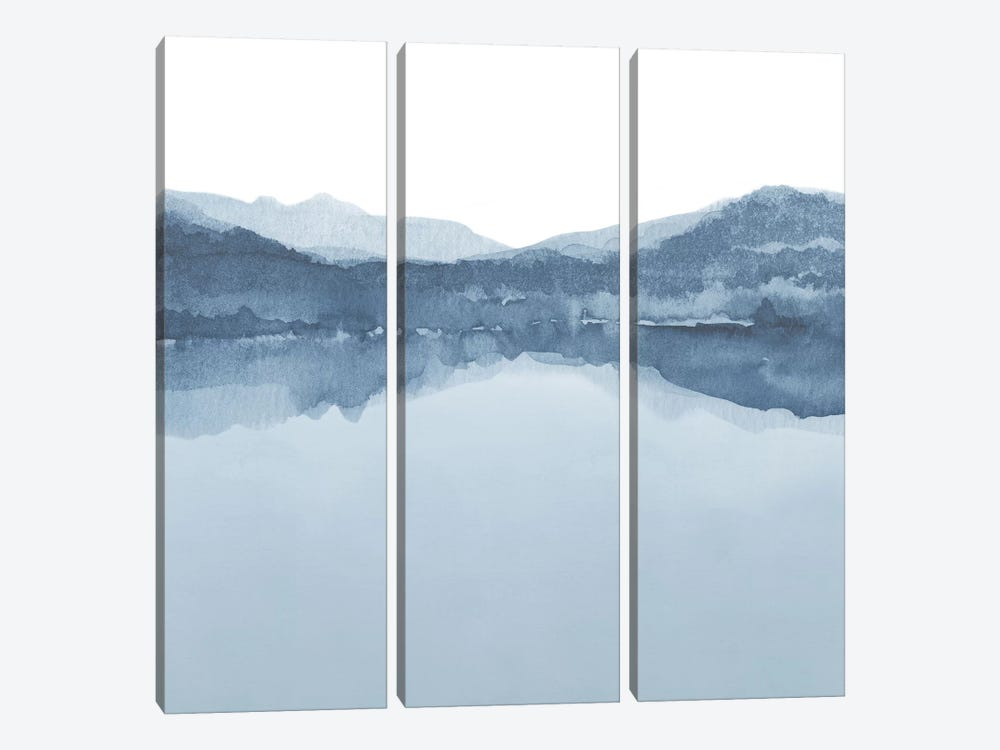 Watercolor Landscape III Shades Of Blue - Square 3-piece Canvas Art