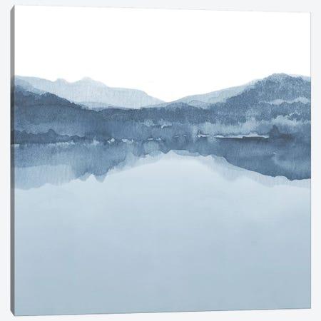 Watercolor Landscape III Shades Of Blue - Square Canvas Print #NUV86} by Nouveau Prints Canvas Artwork