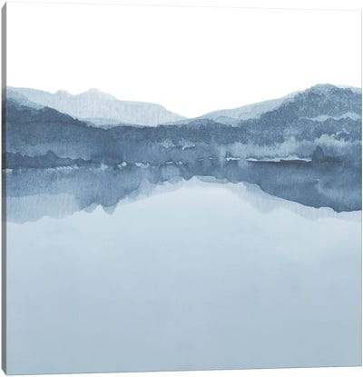 Watercolor Landscape III Shades Of Blue - Square Canvas Art Print