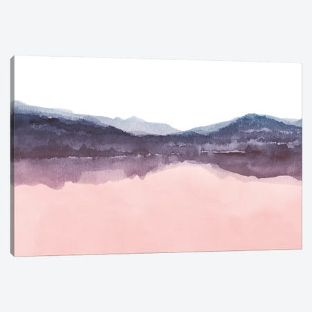 Watercolor Landscape Iv Indigo & Blush Pink Canvas Print #NUV87} by Nouveau Prints Canvas Artwork