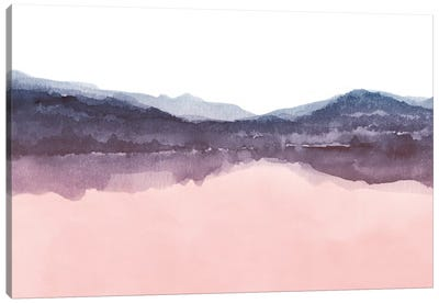 Watercolor Landscape Iv Indigo & Blush Pink Canvas Art Print