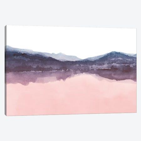 Watercolor Landscape Iv Indigo & Blush Pink Canvas Print #NUV87} by Nouveau Prints Canvas Artwork