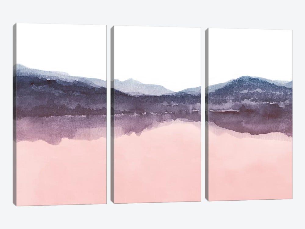 Watercolor Landscape Iv Indigo & Blush Pink by Nouveau Prints 3-piece Art Print
