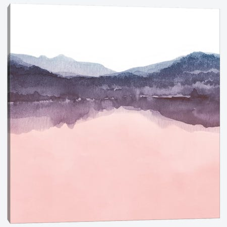 Watercolor Landscape Iv Indigo & Blush Pink - Square 3-Piece Canvas #NUV88} by Nouveau Prints Canvas Art Print
