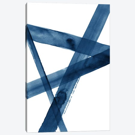 Watercolor Lines III Blue Canvas Print #NUV91} by Nouveau Prints Canvas Wall Art