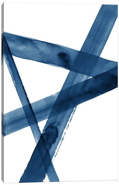 Watercolor Lines III Blue Canvas Art Print