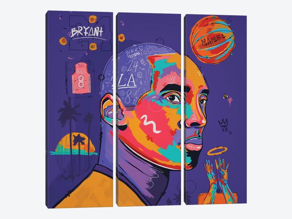 Kobe - Purple by NUWARHOL™ 3-piece Canvas Art