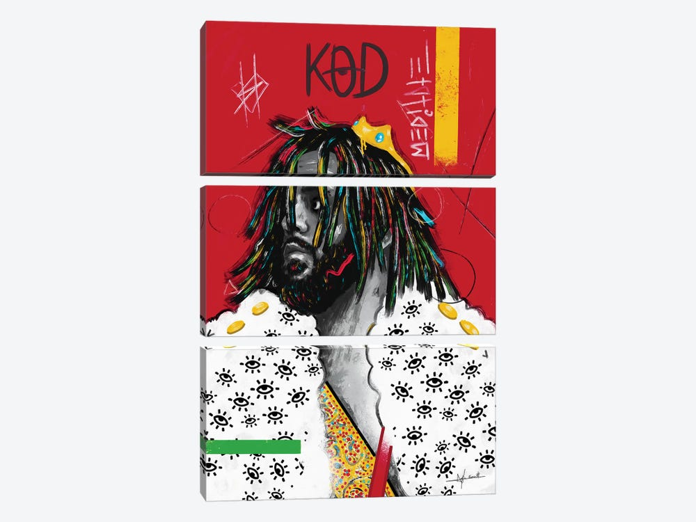 KOD - J.Cole by NUWARHOL™ 3-piece Canvas Wall Art