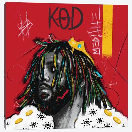 KOD - J.Cole Square Canvas Print #NUW15} by NUWARHOL™ Canvas Wall Art