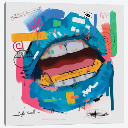 Lips Open Blue Canvas Print #NUW17} by NUWARHOL™ Canvas Wall Art