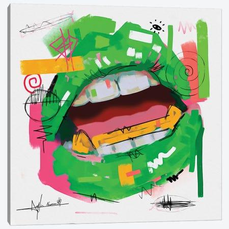 Lips Open Green Canvas Print #NUW18} by NUWARHOL™ Art Print