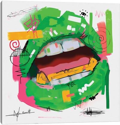 Lips Open Green Canvas Art Print