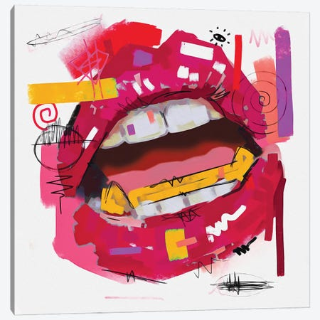 Lips Open Rose Pink Canvas Print #NUW19} by NUWARHOL™ Canvas Art Print