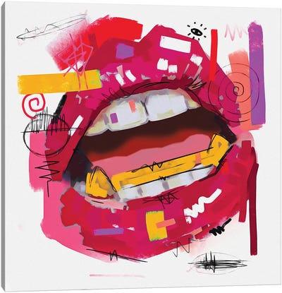 Lips Open Rose Pink Canvas Art Print