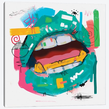 Lips Open Teal Canvas Print #NUW20} by NUWARHOL™ Canvas Wall Art
