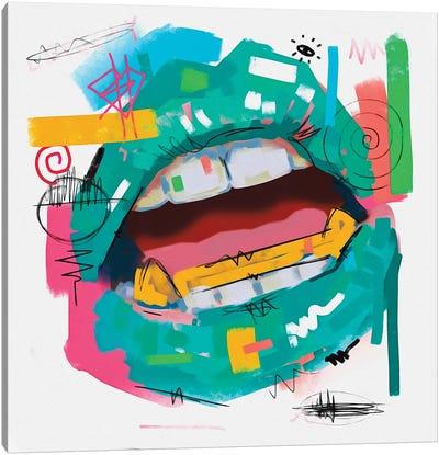 Lips Open Teal Canvas Art Print