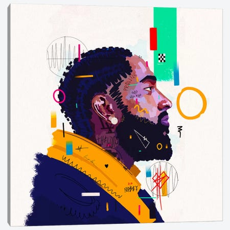 Nipsey Husstle - Rip Canvas Print #NUW29} by NUWARHOL™ Canvas Wall Art