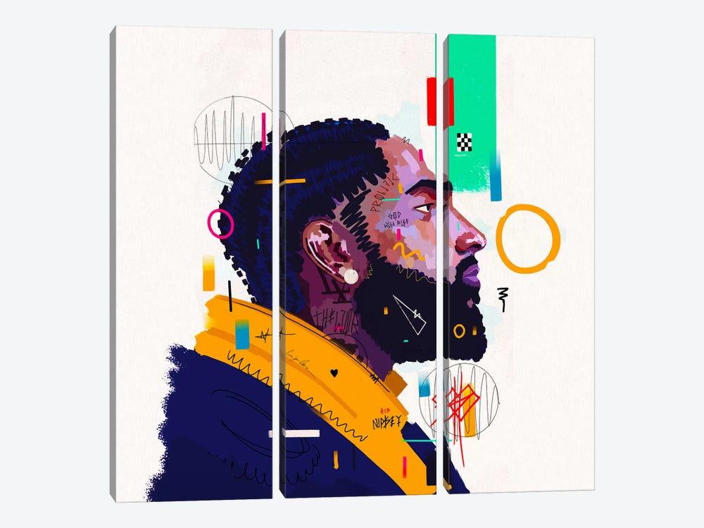 Nipsey Husstle - Rip by NUWARHOL™ 3-piece Canvas Artwork