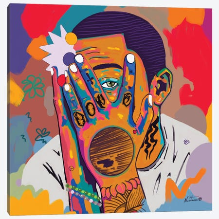 Mac Miller Canvas Print #NUW41} by NUWARHOL™ Canvas Artwork