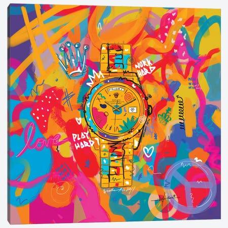 Rolex Friday - Hustle Hard (Square) Canvas Print #NUW42} by NUWARHOL™ Canvas Wall Art