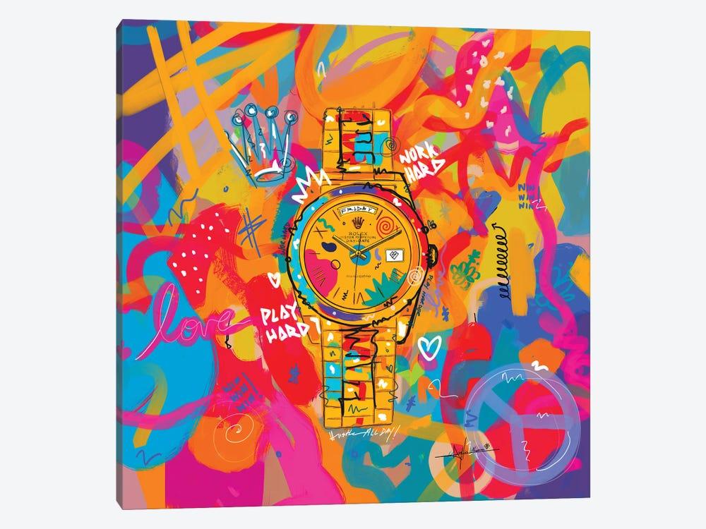 Rolex Friday - Hustle Hard (Square) by NUWARHOL™ 1-piece Canvas Art Print
