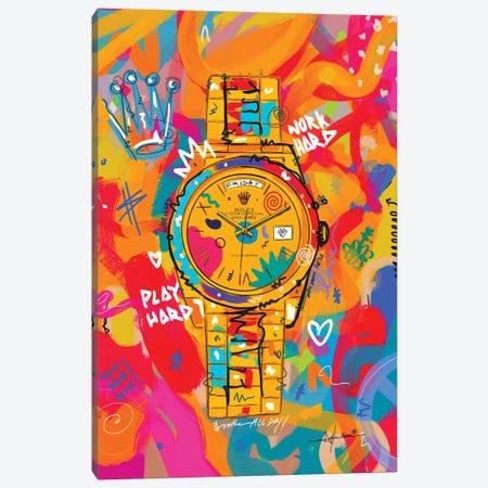 Rolex Friday - Hustle Hard (Tall) Canvas Print #NUW43} by NUWARHOL™ Canvas Art