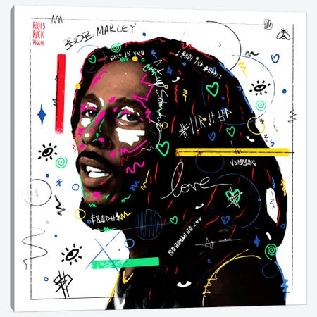 Bob Marley Canvas Print #NUW5} by NUWARHOL™ Canvas Artwork