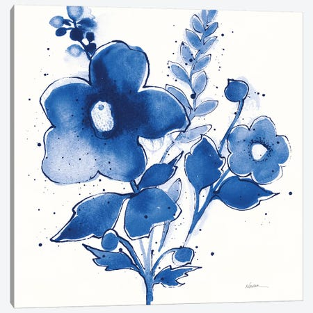 Independent Blooms Blue IV v2 Canvas Print #NVA5} by Shirley Novak Canvas Art