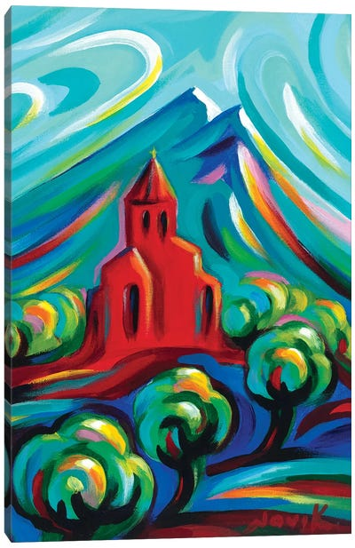 Red Church III Canvas Art Print