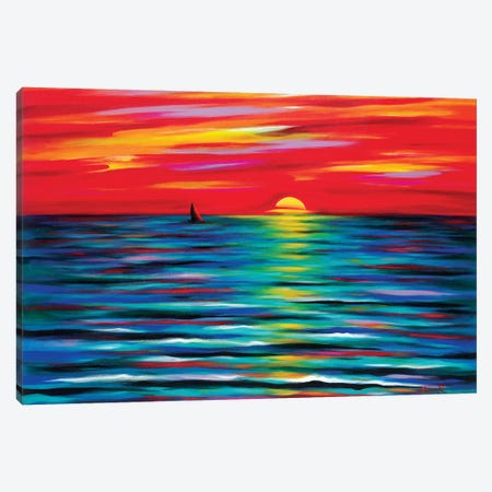 Red Sunset Canvas Print #NVK149} by Novik Canvas Art Print