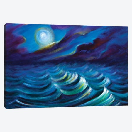 Watching On The Waves Canvas Print #NVK205} by Novik Art Print