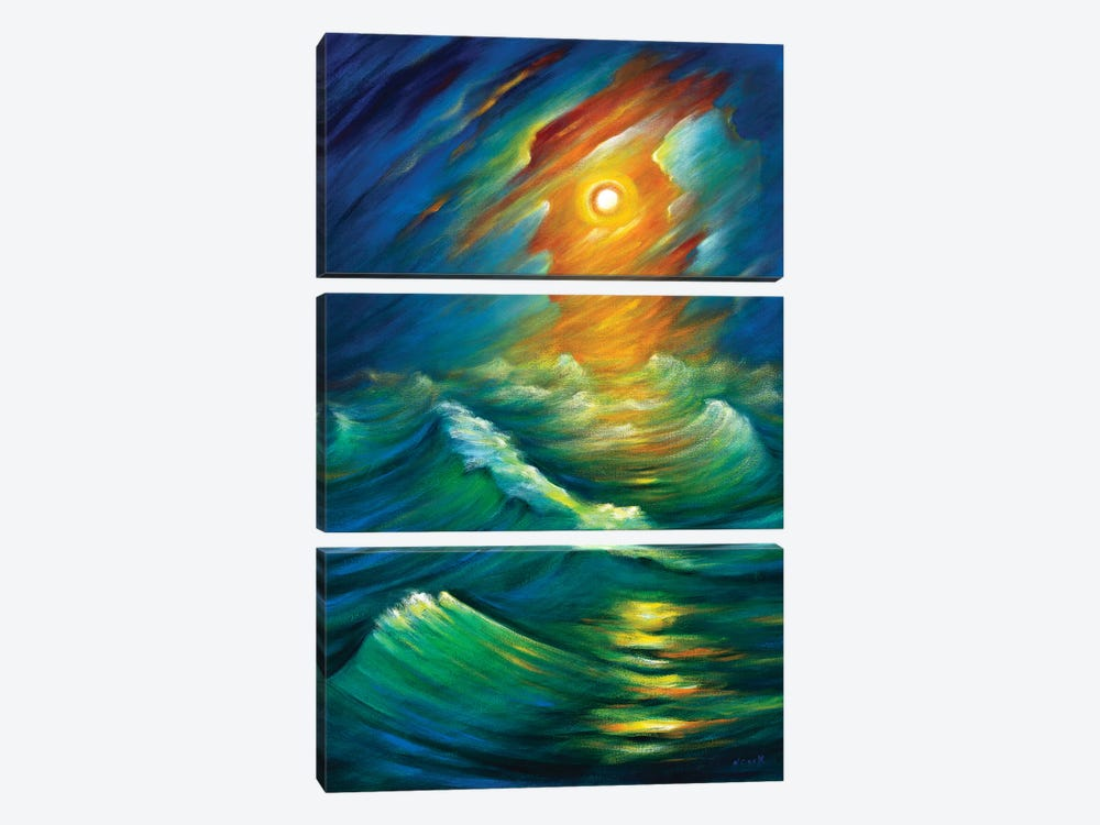 Yellow From The Night Sky by Novik 3-piece Canvas Artwork