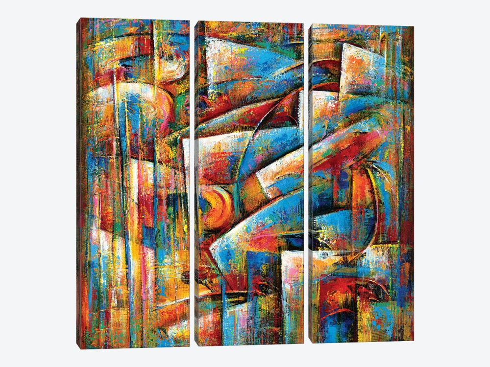 Dance Of The Blues by Novik 3-piece Canvas Artwork