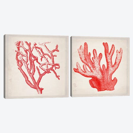 Red Coral Diptych Canvas Print Set #NWE2HSET001} by Natasha Wescoat Canvas Print