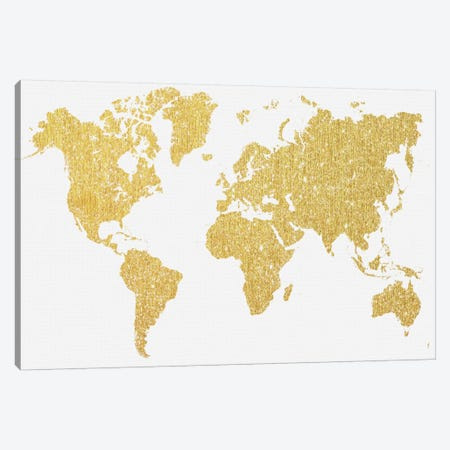 Gold Map Canvas Print #NWE30} by Natasha Wescoat Canvas Artwork