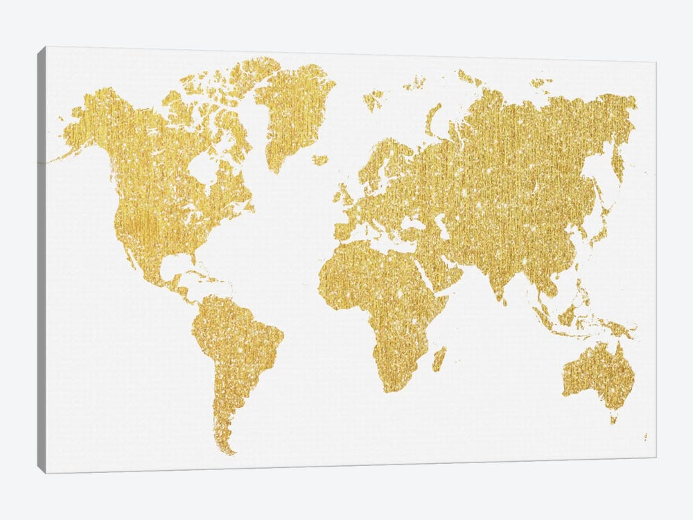 Gold Map by Natasha Westcoat 1-piece Canvas Art