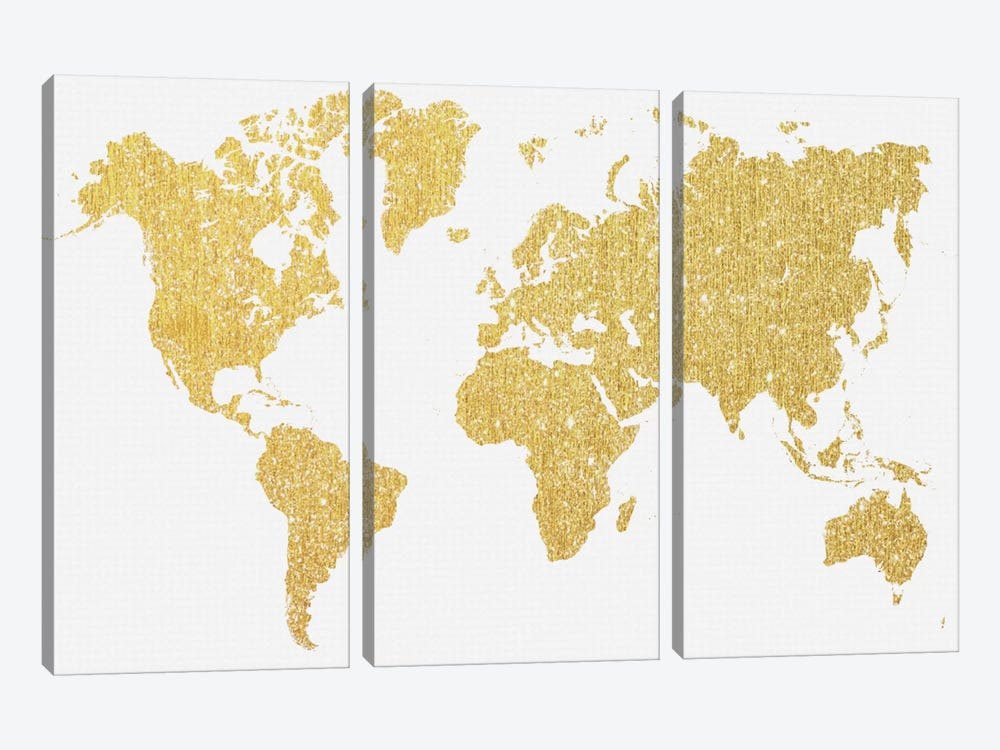 Gold Map by Natasha Westcoat 3-piece Canvas Artwork