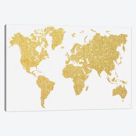 Gold Map Canvas Print #NWE30} by Natasha Wescoat Canvas Artwork