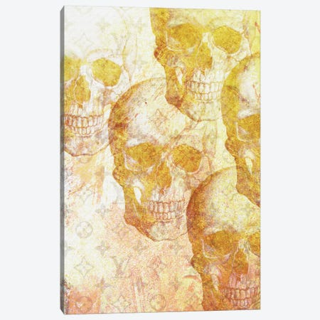 Gold Skulls Canvas Print #NWE31} by Natasha Westcoat Canvas Wall Art