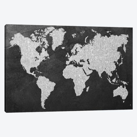 Grey Map Canvas Print #NWE34} by Natasha Westcoat Art Print