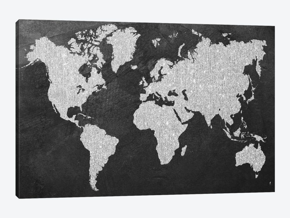 Grey Map by Natasha Westcoat 1-piece Canvas Art
