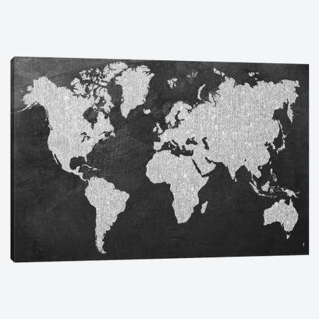 Grey Map Canvas Print #NWE34} by Natasha Wescoat Art Print