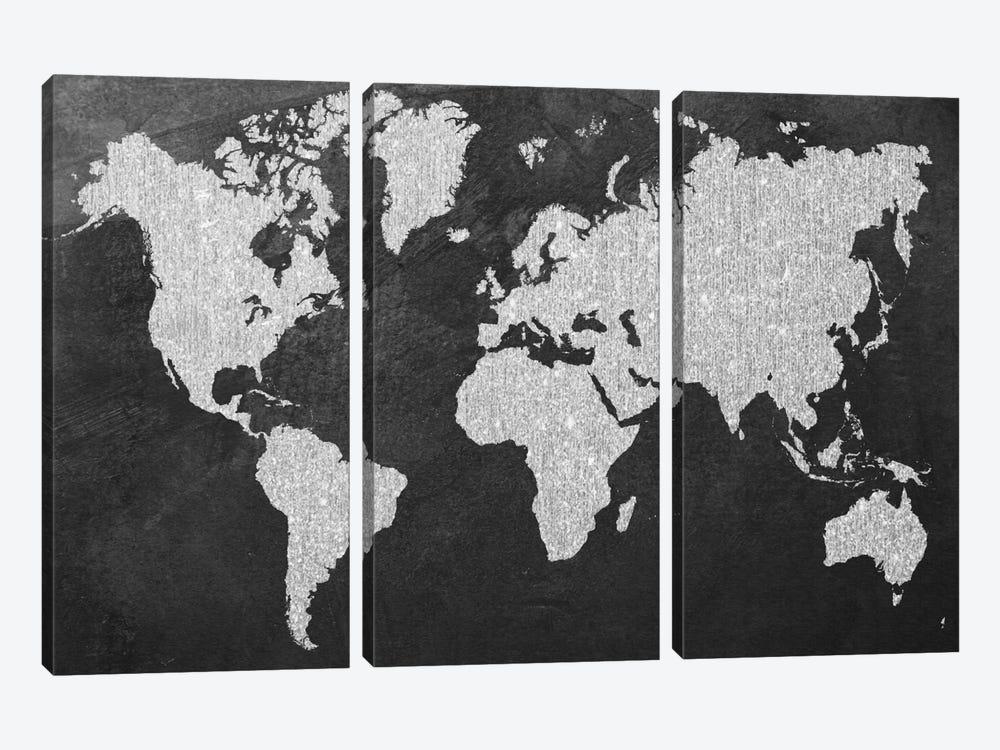 Grey Map by Natasha Wescoat 3-piece Canvas Art