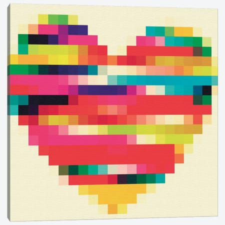 Rainbow Heart Canvas Print #NWE46} by Natasha Westcoat Canvas Wall Art