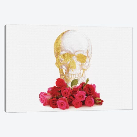 Rose And Skull Canvas Print #NWE51} by Natasha Westcoat Canvas Art