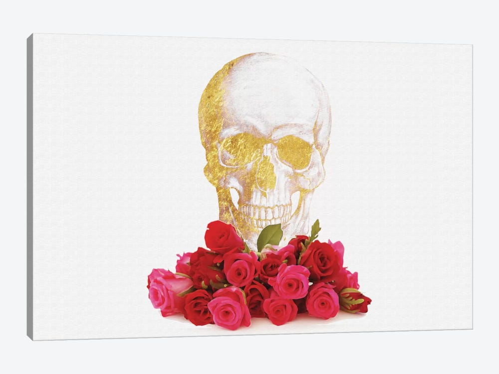 Rose And Skull by Natasha Westcoat 1-piece Canvas Print
