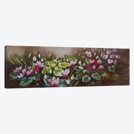 January- Cyclamen And Snowdrops Canvas Print #NWM105} by Nel Whatmore Canvas Art