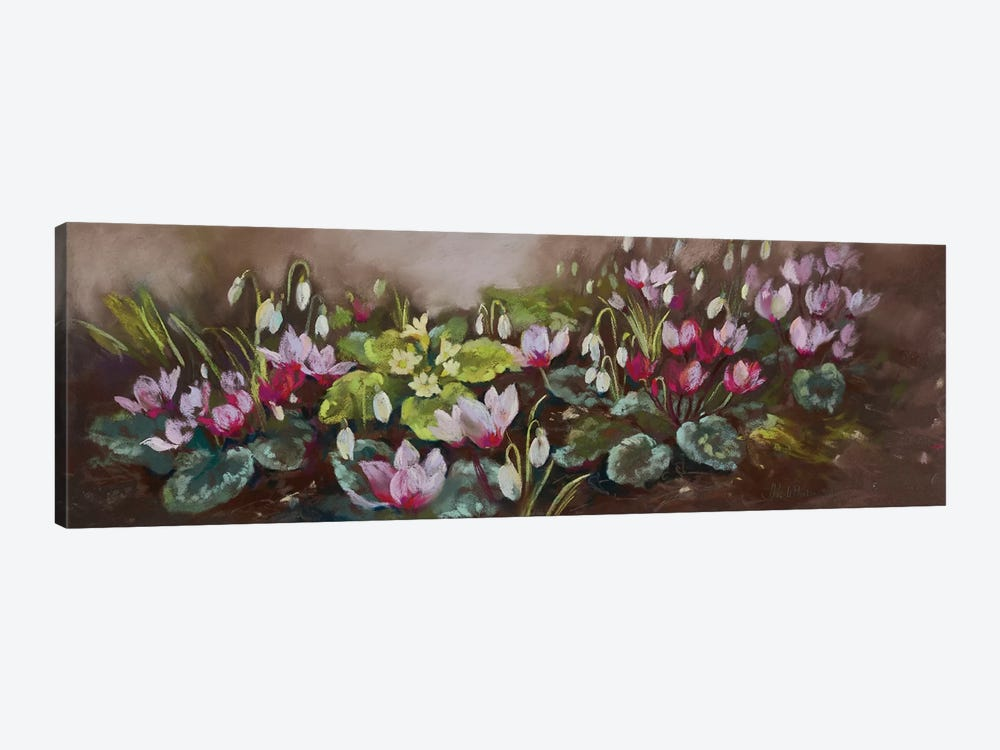January- Cyclamen And Snowdrops by Nel Whatmore 1-piece Canvas Wall Art