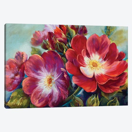Greeting Rose From National Rose Collection Canvas Print #NWM25} by Nel Whatmore Canvas Art