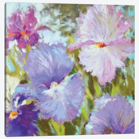Little Irises 3-Piece Canvas #NWM42} by Nel Whatmore Canvas Print